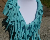 Shabby Chic Sliced Knotted and Beaded Cowl T Shirt Scarf Many Colors Available Shown here in Aqua with Aqua Beads