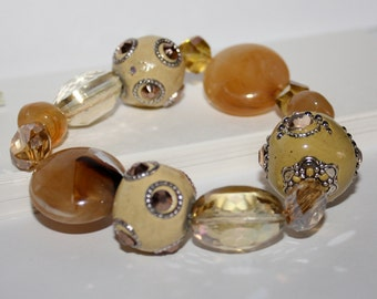 Bracelet-Chunky Beaded Bracelet-Stretch Cord Bracelet-Slip Over The Hand-Wrist Size 7-Jesse James Beaded Bracelet-Creamy Carmel Earth Tones