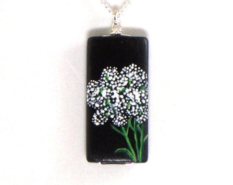 Baby's Breath Necklace, Gypsophila Pendant, Flower Necklace, White Flower Jewelry, Wedding Flowers, Hand Painted Jewelry
