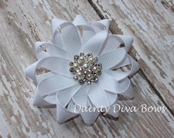 Crisp White Ribbon Flower with Pearl and Rhinestone Center, White Hair Bow, White Hair Clip, Pearl Bow, Toddler Bow, Toddler Hair Clip