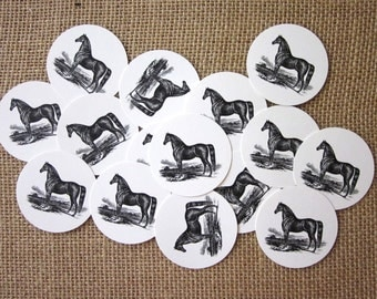 Black Horse Tags Round Paper Gift Tags Set of 10
