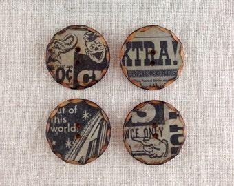 Wood Newsprint buttons