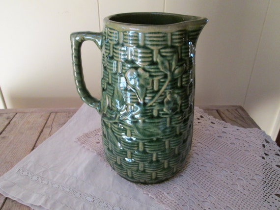 Green Brush Mccoy Pitcher Basketweave By Antiquesplus On Etsy
