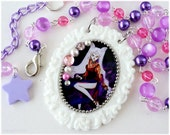 Black Lady Necklace, White Cameo Pendant, Pink and Purple Beaded Chain in Silver - Anime, Sailor Moon Jewelry