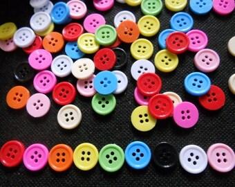 100 pcs Mix assorted colors 4 holes buttons size 14 mm