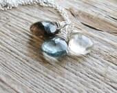 Gemstone Necklace Wire Wrapped Stone Goldfilled Gold Bridal Gems Moss Aquamarine Smoky Quartz Lemon Briolettes Minimalist Modern