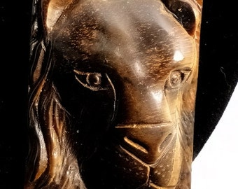 Beautiful Carved Tigers Eye Stone  Leo the Lion Zodiac Necklace