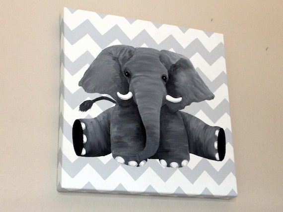 Painted Elephant Background Elephant Oil Painting With