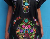 Mexican Black Mini Dress Floral Colorful Embroidered Handmade Spring / Summer Medium