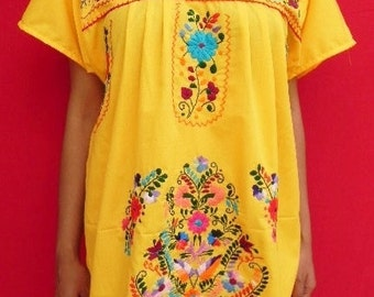 Mexican Mini Dress Yellow  Tunic Embroidered Handmade Collection Spring / Summer Large