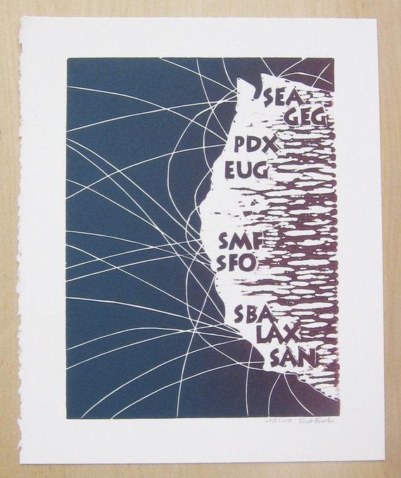 Seattle, Portland & California Map - 8x10 Linocut Print (Violet)