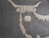 handprinted larger highland cow cushion cover