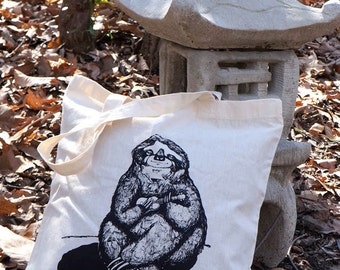 Sloth Playing the Ukulele Hand Drawn Design on Natural Tote Bag