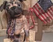 Custom order /// a primitive, Antique style Pug Dog puppy  /// Brady Bears Studio /// FAAP, HAFAIR