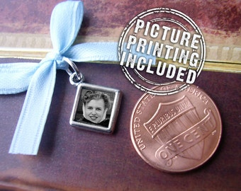Memorial Photo Charm - Super Tiny Diamond Photo Charm - Includes Picture Printing Service