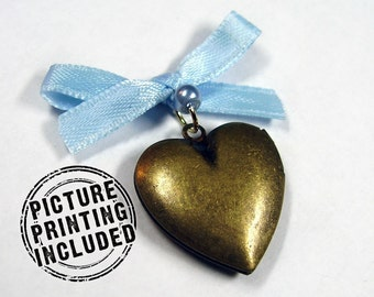 Memorial Locket Charm - Bronze Heart - Includes Picture Printing Service - Silver Available
