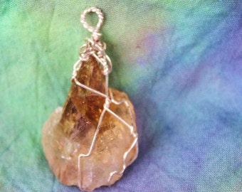 Citrus Splash - Citrine Pendant in Silver Wire Wrap