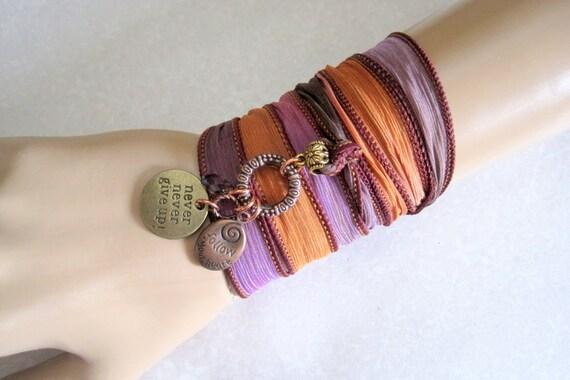 Never Never Give Up & Always Follow Your Heart Charm Bracelet Anklet Necklace - Copper Bronze Swarovski Crystal Silk Yoga Ribbon Wrap