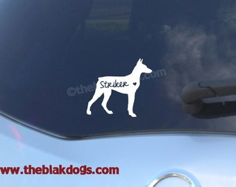 Doberman Pinscher Silhouette Vinyl Sticker - personalized Car Decal