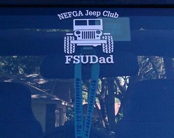 Customized Jeep sticker, 4 x 4 Sticker, Vinyl Sticker, Car Decal, personalized jeep sticker, jeep club