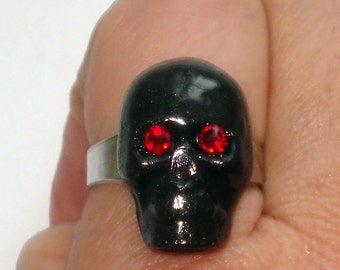 Black skull with red crystal eyes gothic style ring