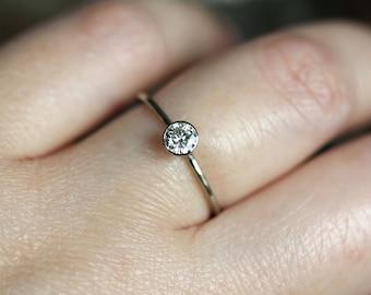 4mm Moissanite 14K Gold Engagement Ring, Stacking RIng - Made To Order