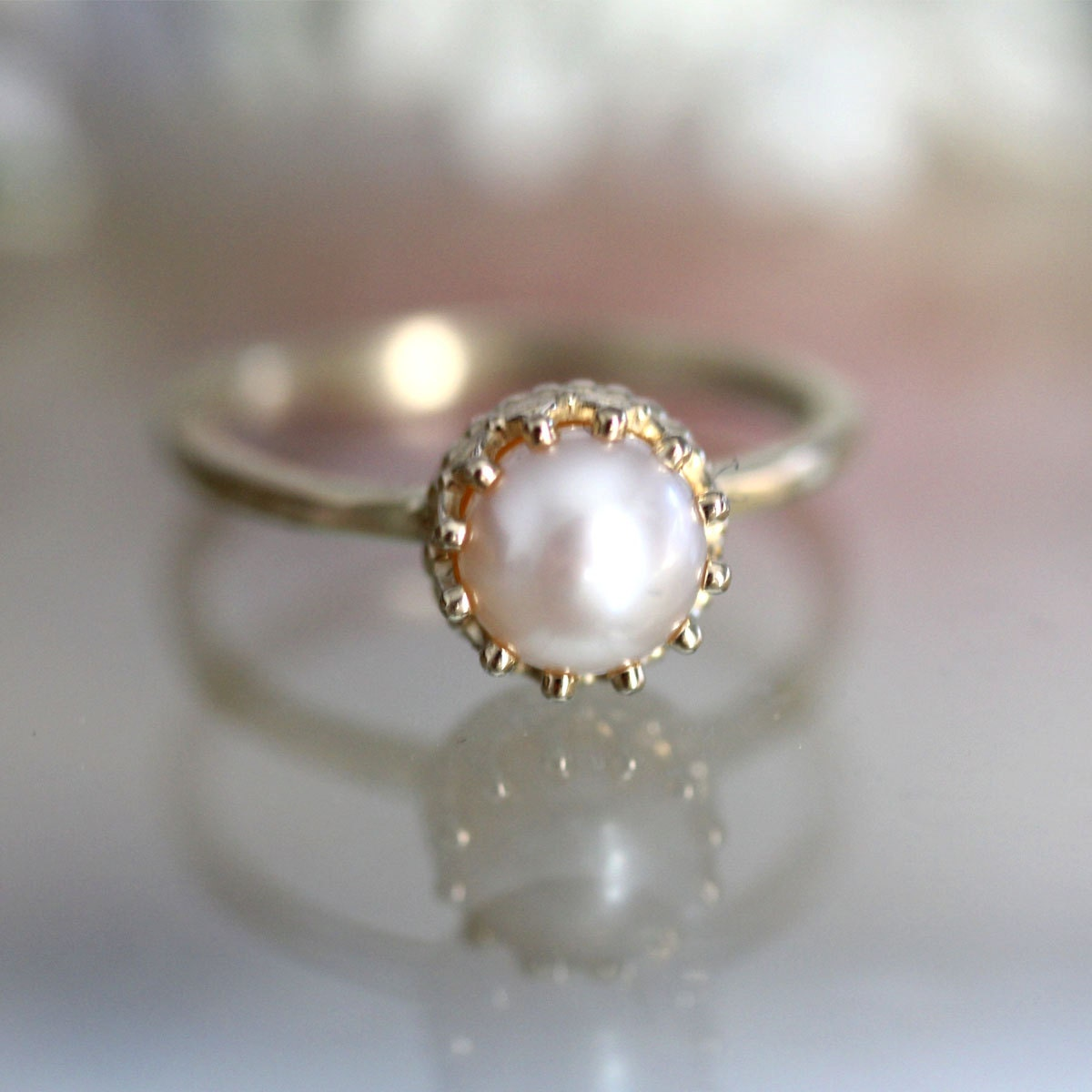 Pearl Ring Old Fashioned Setting