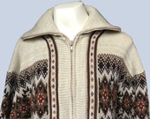 70s Cardigan, Fairisle, Cowichan, Zip Up.