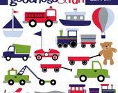 Buy 2, Get 1 FREE - Transportation Time Clipart - Digital Transportation Clipart - Instant Download