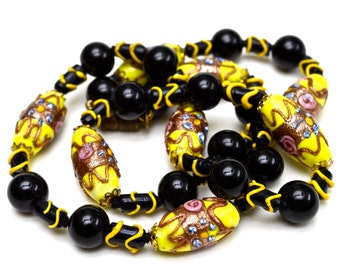BRIGHT Venetian WEDDING CAKE Beads - Bold Bumblebee Black & Yellow - 21.5""