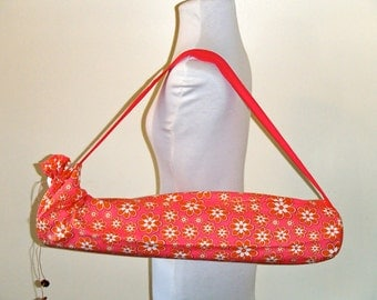 Yoga Mat Bag , Yoga Tote , pink and orange daisies