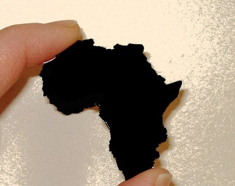 Shape of Africa Pin, Brooch in Black Acrylic, Africa Love