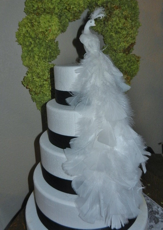 White Feather Peacock Bird Cake Topper Centerpiece