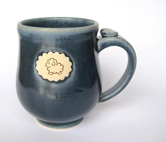 Sheep mug in satin blue, IN STOCK