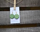 Green Crackled Southwest Cross Earrings
