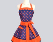 Ruffled Retro Apron , Handmade Flirty Full Womens Apron in Orange and Navy Blue Polka Dot Sexy Cute Kitchen Cooking Womans Apron Personalize