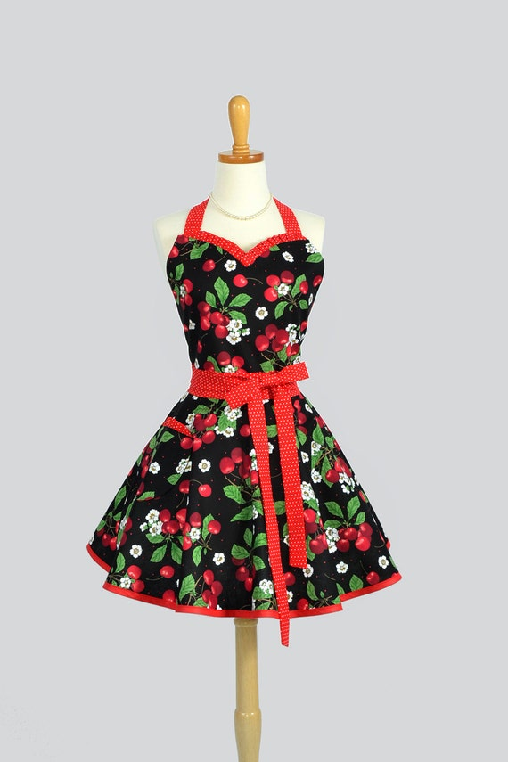 Sweetheart Apron - Retro Sexy Flirty Womens Pinup Apron Red and Black Cherry Jubilee Cute Handmade Full Kitchen Apron