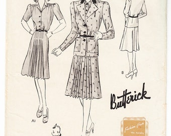 Vintage 1943 Butterick 9343 FF Sewing Pattern Women's, Misses' Jacket Frock Size 16 Bust 34