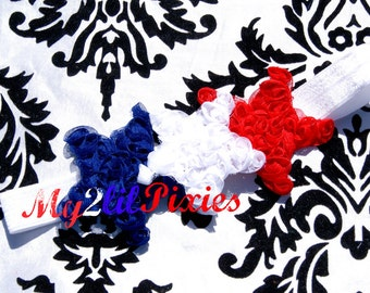 PATRIOTIC Headband, Baby Girl Headband,  Headbands,  4th of July Headband, Stars Headband, Red, White and Blue- On sale Headbands