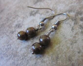 Bronzite Earrings, Gemstone Round Orb Duos, Chocolate Brown, Gunmetal, Modern, Simple, Minimalist, Bridesmaid, Neutral, Canadian Seller