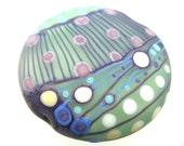 Moogin - Batik pattern large lentil shaped  focal bead lampwork glass -  31mm- SRA