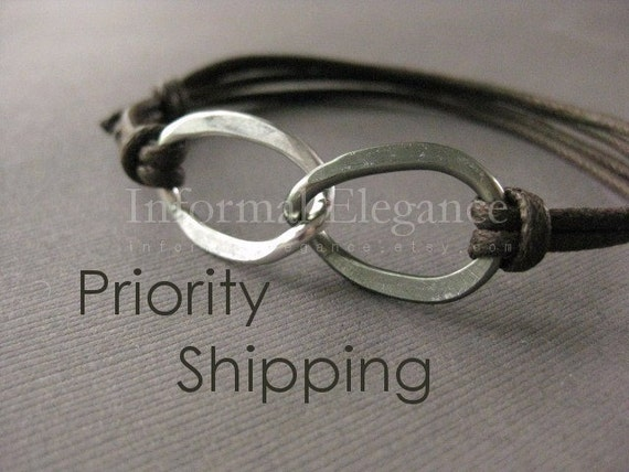Priority Shipping, Men's Bracelet, Hammered Aluminum Infinity Bracelet, Two Tone, Wedding Day, Anniversary, Adjustable Brown cord, MB 117