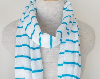 White Lace Infinity Circle Scarf with Blue Stripes