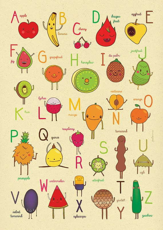 Items similar to ABC - Fruit Alphabet on Etsy