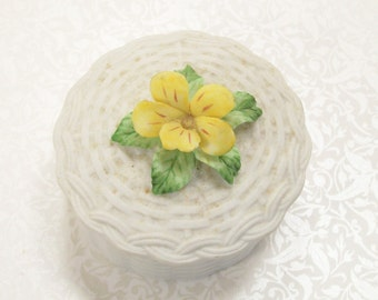 Yellow Pansy Porcelain Trinket Box Lefton White Jewelry Ring Vintage