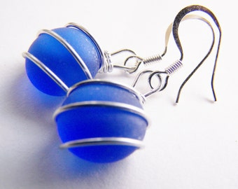 Sea Glass Bridesmaids sets - Cobalt Blue Earrings - Glass Pearl - Other Colors Available - Weddings - affordable - seaside