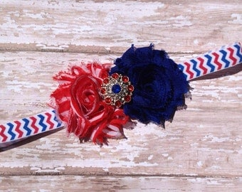 4th of July Headband, American Flag Bow, Patriotic, Red White and Blue, Independence Day, Infant Headband, Newborn Headband, Baby Headband