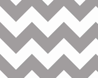 SALE - Riley Blake Large Chevron in Gray - By the Yard