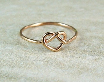 Promise Ring / Rose Gold Heart Ring / Love Knot / Infinity Ring / Sweetheart Ring / Wedding Ring