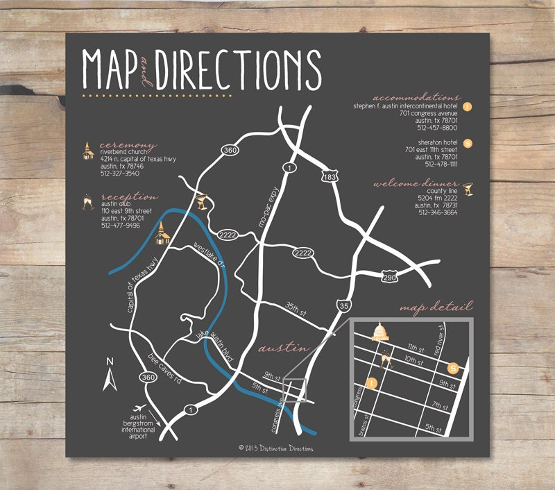 Custom Wedding Map Design And 50 Printed Map Cards : Any Event